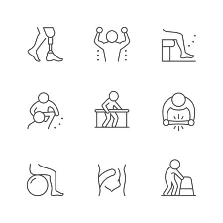 Set line icons of physical therapy isolated on white. Health rehabilitation, physiotherapy exercise, kinesio tape, injury recovery, physiotherapist assistance. Vector illustration