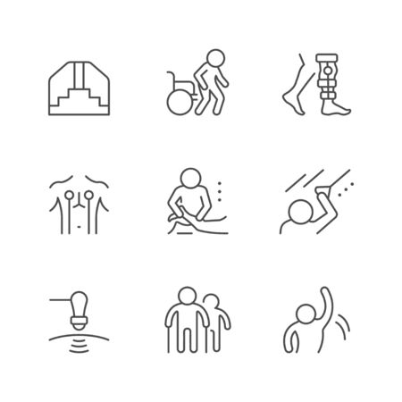 Set line icons of physical therapy isolated on white. Health rehabilitation, physiotherapy exercise, wheelchair, injury recovery, physiotherapist assistance, massage. Vector illustration Zdjęcie Seryjne - 138543090
