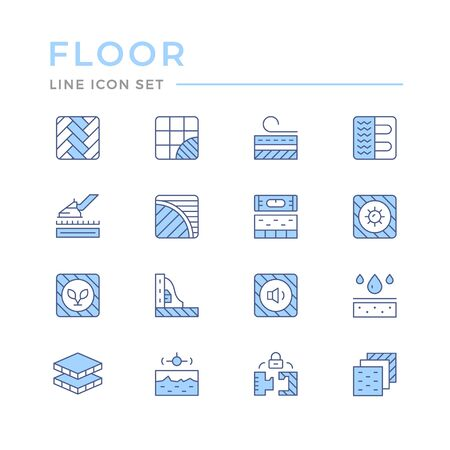 Set color line icons of floor isolated on white. Vector illustration