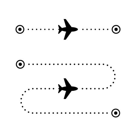 Airplane flight route glyph icon