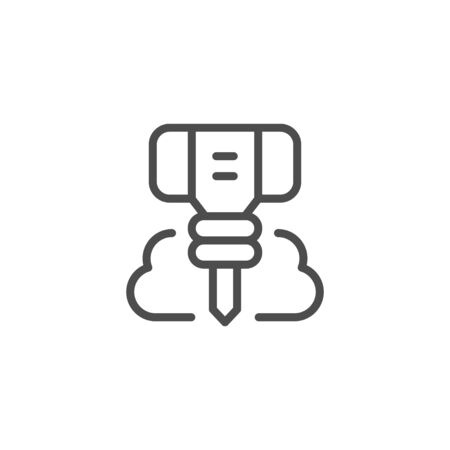 Jackhammer line outline icon isolated on white background. Equipment for demolition constructions and destroy hard materials. Building tool. Vector illustration