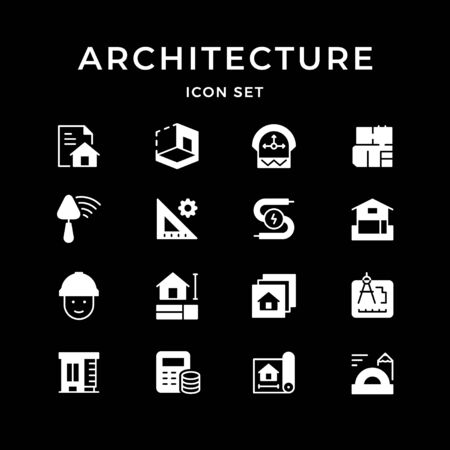 Set glyph icons of architectural