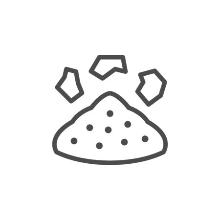 Pile of soil line outline icon  イラスト・ベクター素材