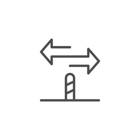 Directional sign line outline icon