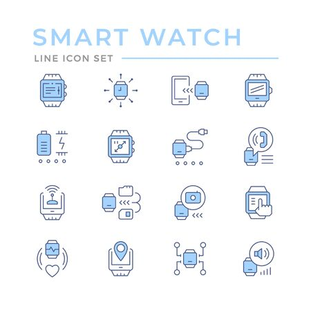 Set color line icons of smart watch