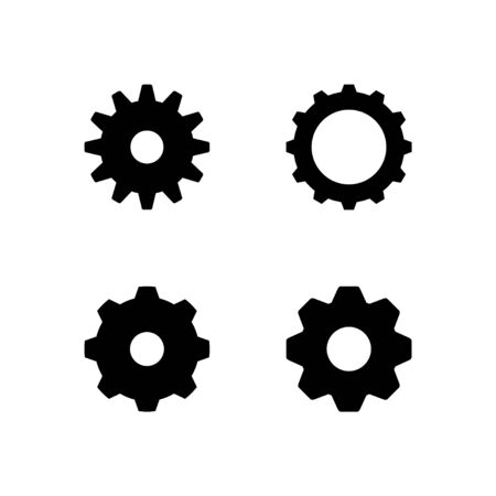 Set glyph icons of cogwheel isolated on white. Gear, mechanical or technical concept, industry sign, setting symbol. Vector illustration