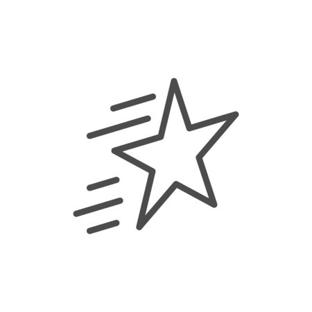 Star line outline icon and sparkle sign isolated on white. Award, magic, shining, victory pictogram. Vector illustration