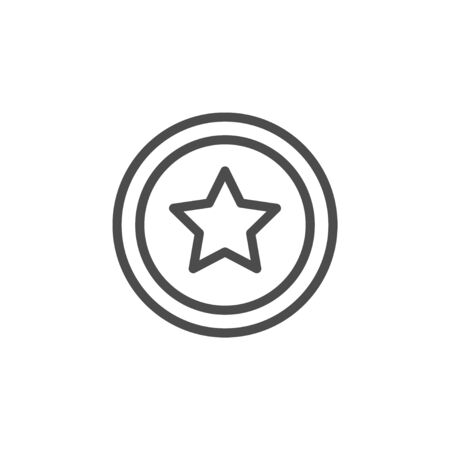 Star line outline icon and sparkle sign isolated on white. Award, magic, shining, victory pictogram. Vector illustration 矢量图片