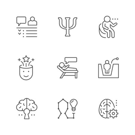 Set line icons of psychology isolated on white. Psychotherapy, mental health, brain concept, psychiatrist perception, problem solution. Vector illustration Illusztráció