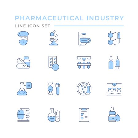 Set color line icons of pharmaceutical industry isolated on white. Vector illustration Illusztráció