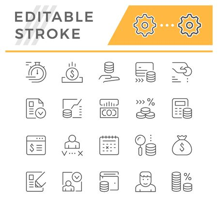 Set line icons of credit isolated on white. Editable stroke. Vector illustration