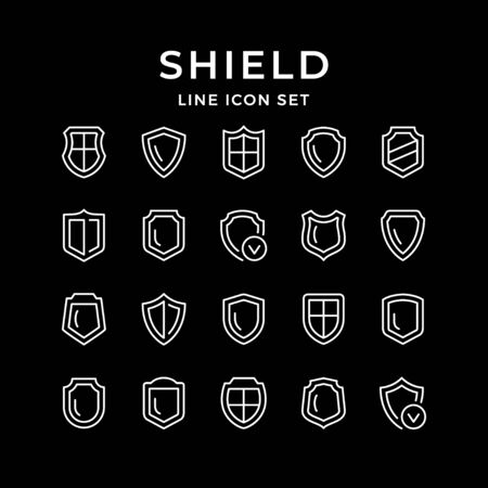 Set line icons of shield isolated on black. Vector illustration