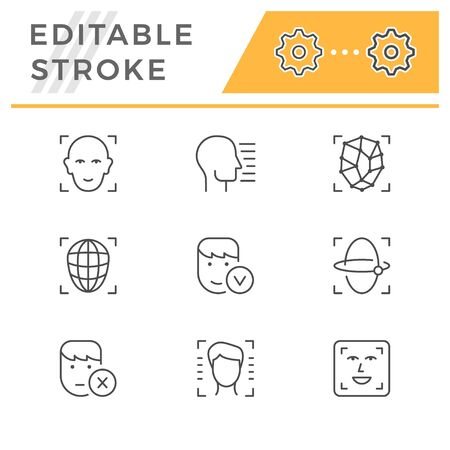 Set line icons of face ID isolated on white. Editable stroke. Vector illustration Illusztráció