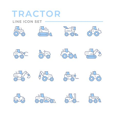 Set color line icons of tractors, farm and buildings machines, construction vehicles isolated on white. Vector illustration