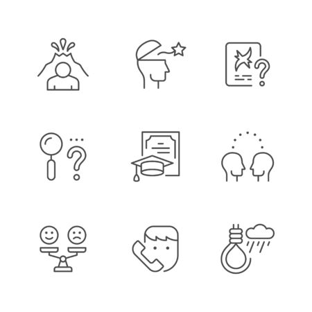 Set line icons of psychology isolated on white. Psychotherapy, mental health, suicide concept, psychiatrist certificate, negative and positive emotion. Vector illustration