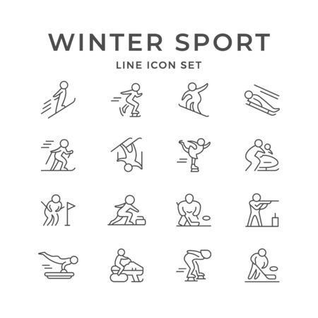 Set line icons of winter sport isolated on white. Hockey, ski race, skiing, biathlon, skeleton, bobsleigh, figure skating, freestyle, slalom, snowboard, luge, curling, snowmobile. Vector illustration
