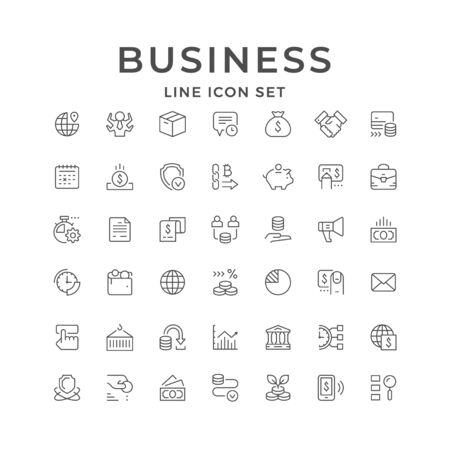 Set line icons of business isolated on white. Time management, money, finance, marketing, freight transportation, advertisement, bank, paper currency, calendar, moneybox. Vector illustration Illusztráció
