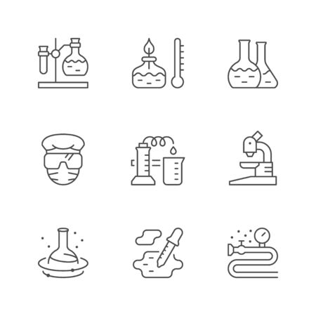 Set line icons of chemical lab