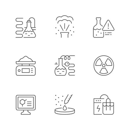 Set line icons of chemical lab isolated on white. Radioactivity symbol, scientific experiment, digital scales, reaction, laboratory equipment, electrolysis, toxic substances. Vector illustration Illusztráció