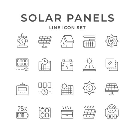 Set line icons of solar panels isolated on white. Sun energy, renewable source of energy, ecofriendly source of electricity. Vector illustration