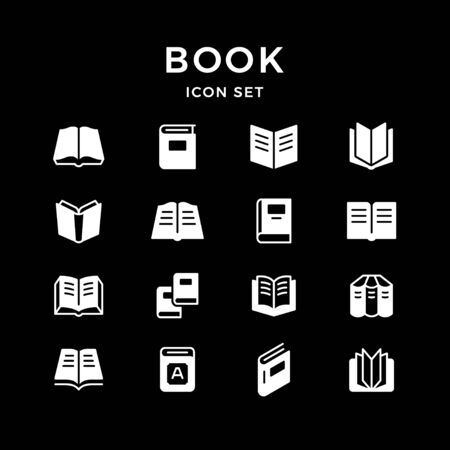 Set icons of book isolated on black. Vector illustration
