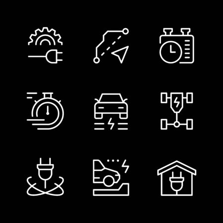 Set line icons of electric car