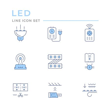 Set color line icons of LED equipment