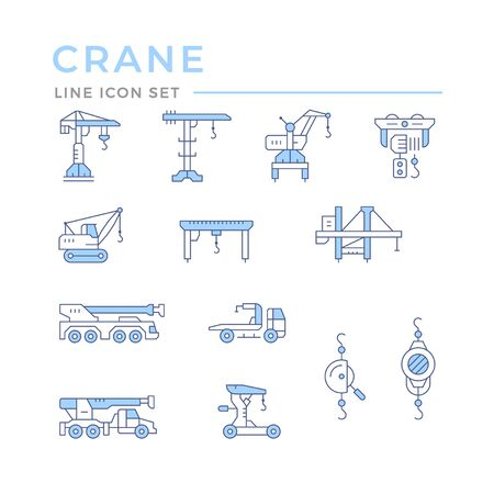 Set color line icons of crane, lifts, winches