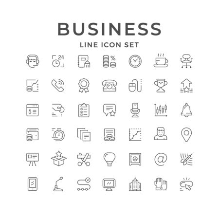 Set line icons of business isolated on white. Time management, money, finance, marketing, contact, phone, aim, company launch, list, notepad, microphone, award, chart. Vector illustration
