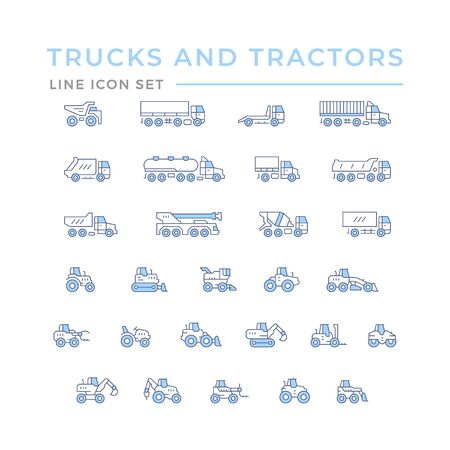Set color line icons of trucks and tractors isolated on white. Vector illustration