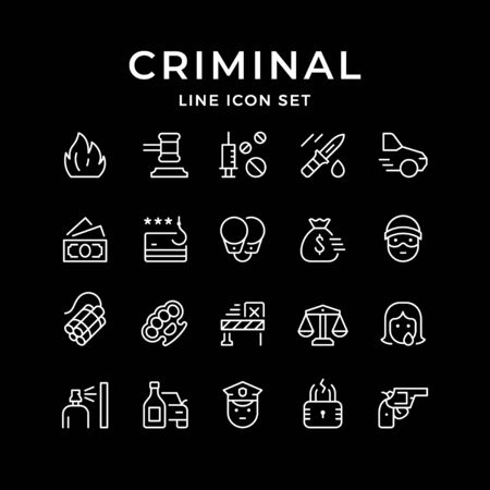 Set line icons of criminal isolated on black. Vector illustration