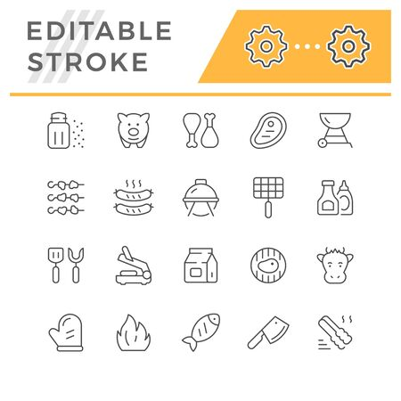 Set line icons of grill isolated on white. Editable stroke. Vector illustration Illusztráció
