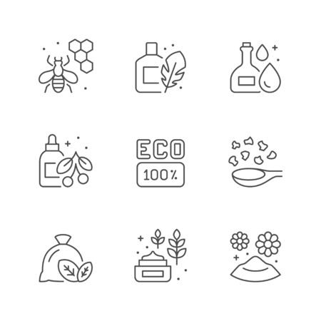 Set line icons of organic cosmetic isolated on white. Natural product, eco sign, essential oil, honey cosmetology, skincare. Vector illustration Stock Illustratie