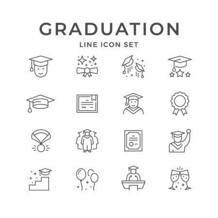 Set line icons of graduation isolated on white. Graduate hat, diploma, school, university or college ceremony, master or bachelor degree. Vector illustration Illusztráció