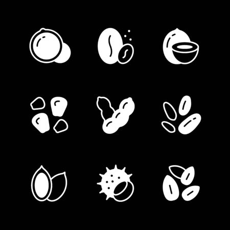 Set icons of nuts and seeds isolated on black. Vector illustration