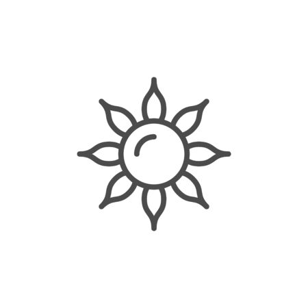 Sun line outline icon and light object isolated on white. Hot and warm weather symbol. Sunlight, sunshine. Vector illustration Illusztráció