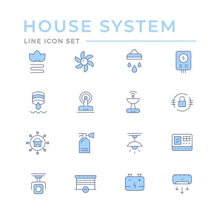 Set color line icons of house systems isolated on white. Vector illustration
