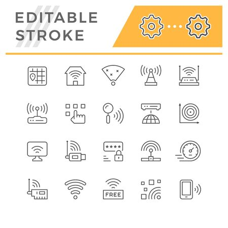 Set line icons of WiFi isolated on white. Editable stroke. Vector illustration 일러스트