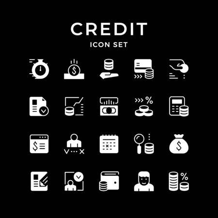 Set icons of credit isolated on black. Vector illustration Ilustracja