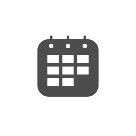 Calendar glyph icon isolated on white. Planner, schedule, deadline concept. Time management. Paper office element. Vector illustration