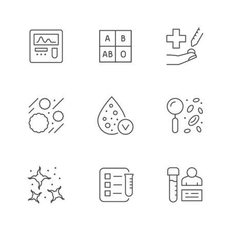 Set line icons of hematology