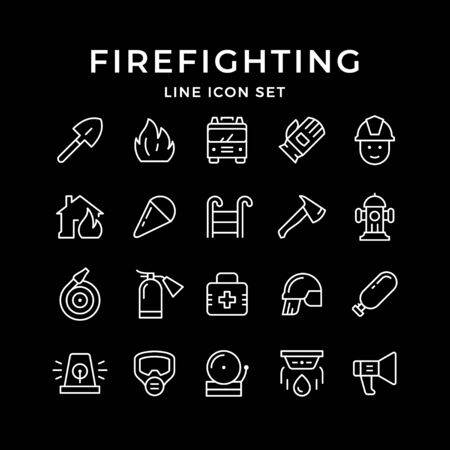 Set line icons of firefighting isolated on black. Vector illustration