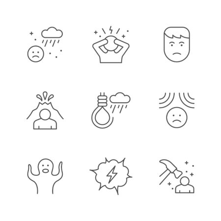 Set line icons of stress and depression isolated on white. Phobia, fear, suicide, emotional pressure, sad person, psychotherapy, anxiety, frustration. Vector illustration Illusztráció