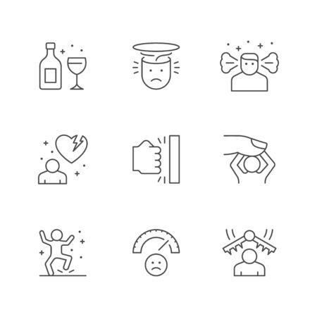 Set line icons of stress and depression isolated on white. Anger, rage, relationship problem, emotional pressure, angry person, psychotherapy, anxiety, frustration. Vector illustration Illusztráció