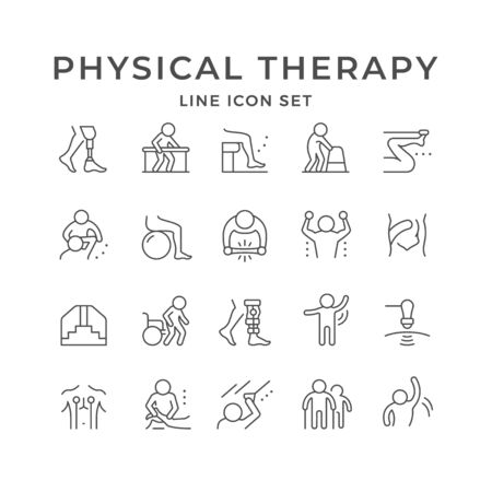 Set line icons of physical therapy isolated on white. Health rehabilitation, physiotherapy exercise, kinesio tape, wheelchair, injury recovery, physiotherapist assistance massage. Vector illustration