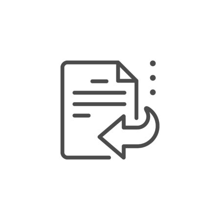 Documents recovery line outline icon isolated on white. Information backup from file and doc. Restore, recover sign. Vector illustration