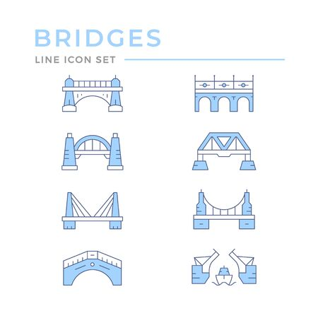 Set color line icons of bridges isolated on white. Vector illustration Illustration