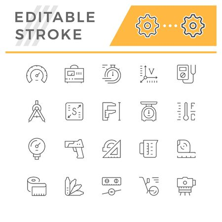 Set line icons of measurement isolated on white. Editable stroke. Vector illustration