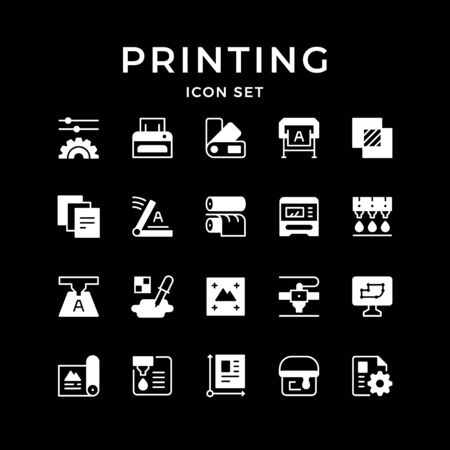 Set icons of printing isolated on black. Vector illustration