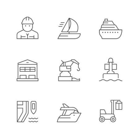 Set line icons of marine port Standard-Bild - 141655694